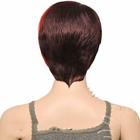 Outfit Attractive Claret Ombre Deep Brown Straight Synthetic Vogue Short Side Bang Wig For Women - DEEP BROWN  Mobile