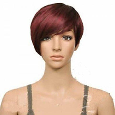 New Attractive Claret Ombre Deep Brown Straight Synthetic Vogue Short Side Bang Wig For Women - DEEP BROWN  Mobile