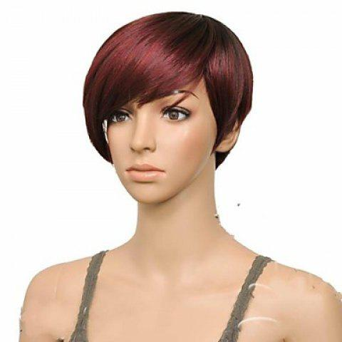 Affordable Attractive Claret Ombre Deep Brown Straight Synthetic Vogue Short Side Bang Wig For Women