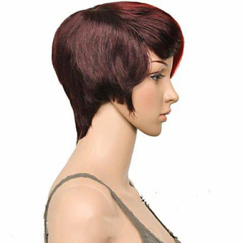 Cheap Attractive Claret Ombre Deep Brown Straight Synthetic Vogue Short Side Bang Wig For Women - DEEP BROWN  Mobile
