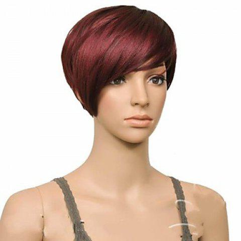 Store Attractive Claret Ombre Deep Brown Straight Synthetic Vogue Short Side Bang Wig For Women - DEEP BROWN  Mobile
