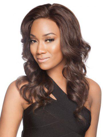 Store Charming Long Centre Parting Trendy Shaggy Wavy Deep Brown Synthetic Wig For Women