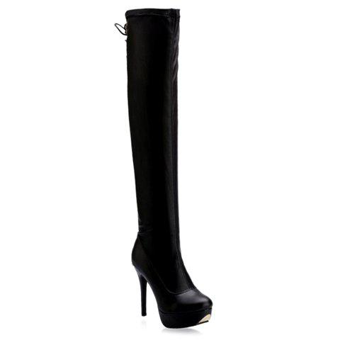 Outfit PU Stretch Over The Knee High Heel Boots BLACK 38