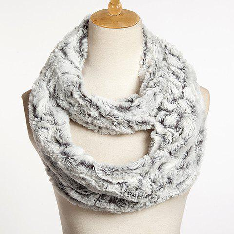 Online Chic Solid Color Faux Fur Downy Neck Warmer For Women