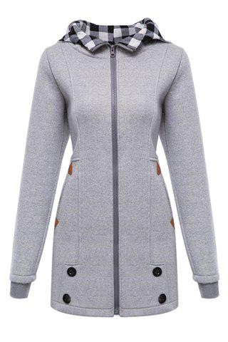 Chic Stylish Hooded Long Sleeve Gingham Button Design Women's Hoodie GRAY S