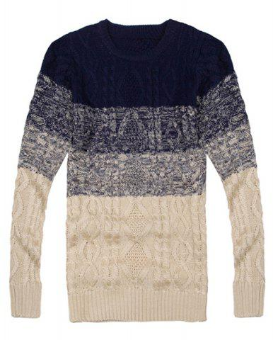 Fancy Cool Ombre Design Round Neck Hemp Flowers Intarsia Slimming Men's Long Sleeves Sweater