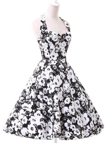 Latest Vintage Halter Floral Printed Backless Ball Gown Midi Dress For Women WHITE AND BLACK S