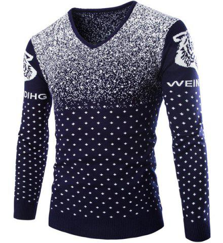 Outfit Cartoon Tiger Snowflake Jacquard Color Block Slimming V-Neck Long Sleeves Men's Sweater
