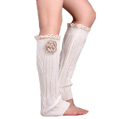 Latest Pair of Chic Flower and Lace Edge Embellished Knitted Leg Warmers For Women