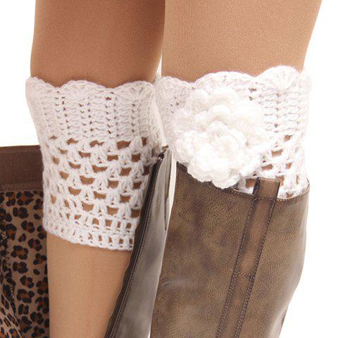 Buy Pair of Chic Flower Shape Embellished Hollow Out Knitted Boot Cuffs For Women