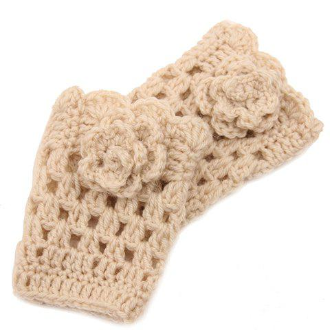 Pair of Chic Flower Shape Embellished Hollow Out Knitted Boot Cuffs For Women - OFF WHITE