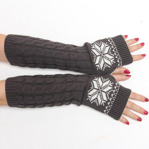 Outfit Pair of Chic Snowflake Pattern Hemp Flowers Knitted Fingerless Gloves For Women