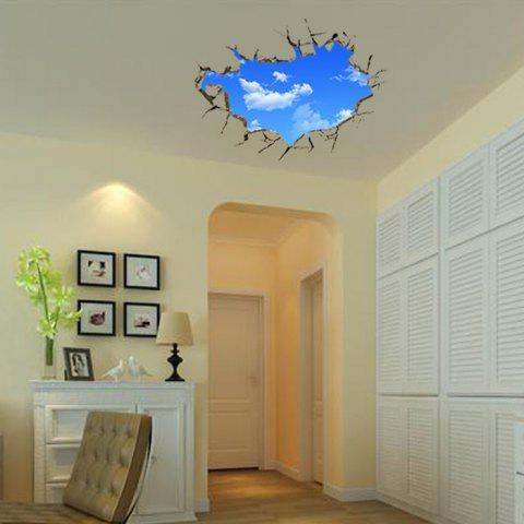 Fancy 3D Blue Sky and White Cloud Style Removable Wall Stickers Colorful Room Window Decoration