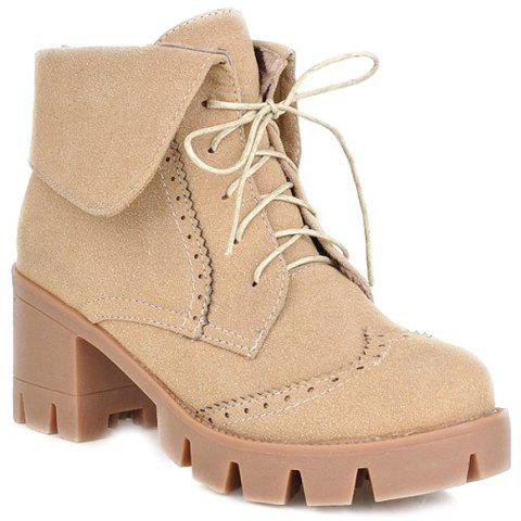 Hot Engraving Suede Chunky Heel Ankle Boots