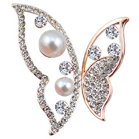 Fancy Hollow Out Rhinestoned Faux Pearl Butterfly Brooch - RANDOM COLOR  Mobile