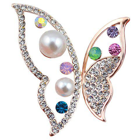 Outfits Hollow Out Rhinestoned Faux Pearl Butterfly Brooch