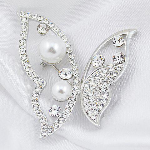 Shops Hollow Out Rhinestoned Faux Pearl Butterfly Brooch - RANDOM COLOR  Mobile