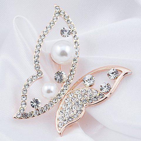 Chic Hollow Out Rhinestoned Faux Pearl Butterfly Brooch - RANDOM COLOR  Mobile