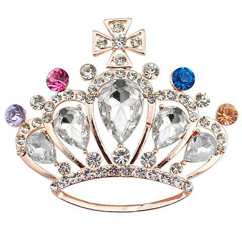 Fancy Crown Shape Rhinestoned Faux Crystal Brooch