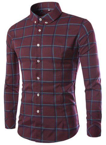 Outfits Classic Color Block Plaid Print Shirt Collar Long Sleeves Slimming Men's Button-Down Shirt