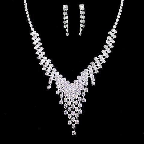 Discount A Suit of Alloy Rhinestoned Tassel Necklace and Earrings SILVER