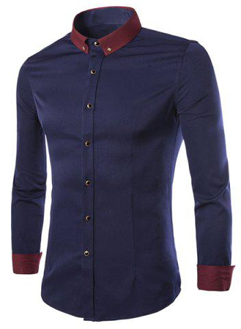 Sale Color Block Shirt Collar Brooch Embellished Long Sleeves Slimming Men's Button-Down Shirt