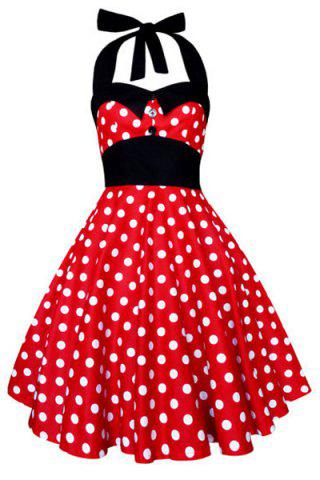 Chic Vintage Halterneck Polka Dot Print A-Line Dress For Women RED M