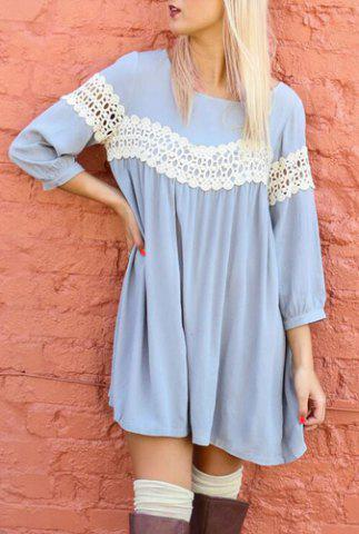Sweet Scoop Neck 3/4 Sleeve Crochet Lace Spliced Dress For Women - Light Blue - M