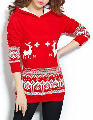 Store Chic Style Hooded Long Sleeve Pocket Design Christmas Hoodie For Women