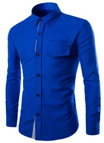 Chic Color Block Striped Button Fly Flap Pocket Shirt Collar Long Sleeves Men's Slimming Shirt BLUE L