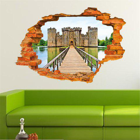 Store Personalized 3D Old Castle Style Removable Wall Stickers Colorful Room Window Decoration