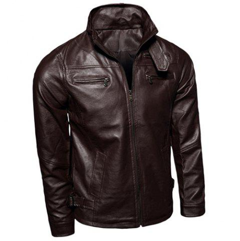 Outfits Elegant Belt Patch Pocket Multi-Zipper Slimming Stand Collar Long Sleeves Men's PU Leather Jacket