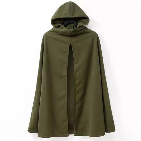Buy Hooded Solid Color Slit Clock Wool Cape ARMY GREEN XL