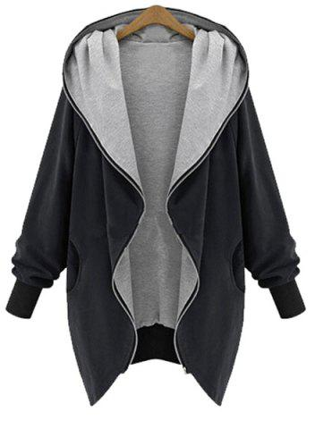 Chic Style Hooded Long Sleeve Pocket Design Coat For Women - Black - 2xl