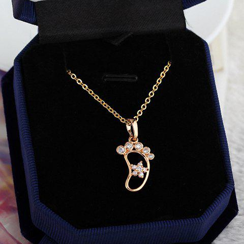 Hot Characteristic Rhinestone Foot Shape Hollow Out Necklace For Women