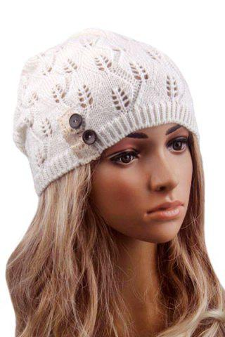 Discount Button Hollow Out Toboggan Hat