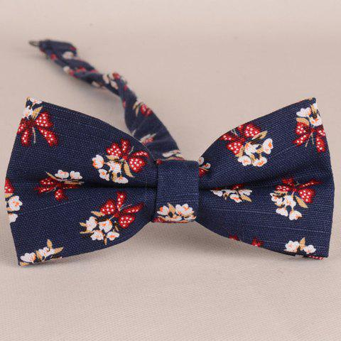 Store Stylish Flower and Bow Pattern Bow Tie For Men PURPLISH BLUE