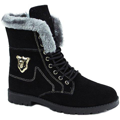 Discount Stylish Skull and Faux Fur Design Men's Boots - 44 BLACK Mobile