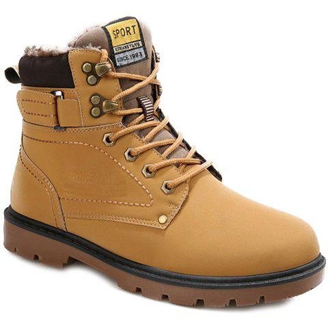 Buy Lace Up Color Block Short Boots YELLOW 44