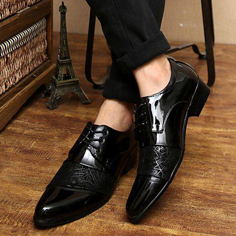 Unique Stylish Geometric Pattern and Black Design Men's Formal Shoes - 40 BLACK Mobile