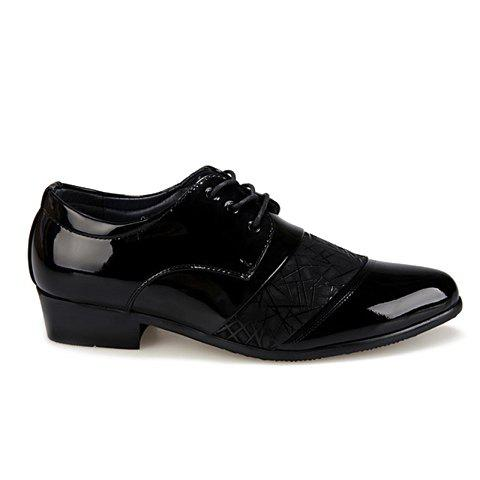 New Stylish Geometric Pattern and Black Design Men's Formal Shoes - 40 BLACK Mobile