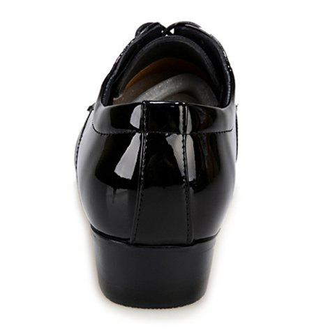 Store Stylish Geometric Pattern and Black Design Men's Formal Shoes - 40 BLACK Mobile