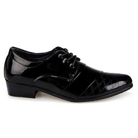 Buy Stylish Patent Leather and Checked Design Men's Formal Shoes - 43 BLACK Mobile
