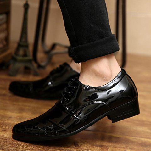 Sale Stylish Patent Leather and Checked Design Men's Formal Shoes - 43 BLACK Mobile