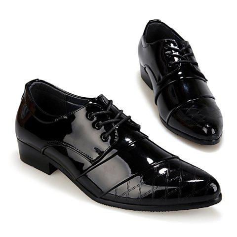 Discount Stylish Patent Leather and Checked Design Men's Formal Shoes - 43 BLACK Mobile