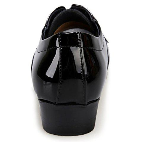 Unique Stylish Patent Leather and Checked Design Men's Formal Shoes - 43 BLACK Mobile