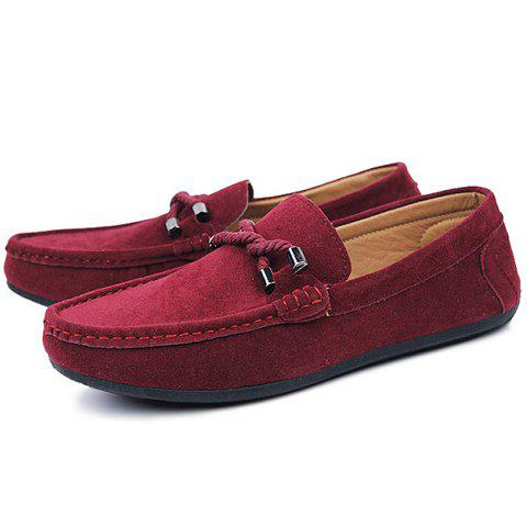 Hot Stylish Criss-Cross and Suede Design Men's Casual Shoes - 44 WINE RED Mobile