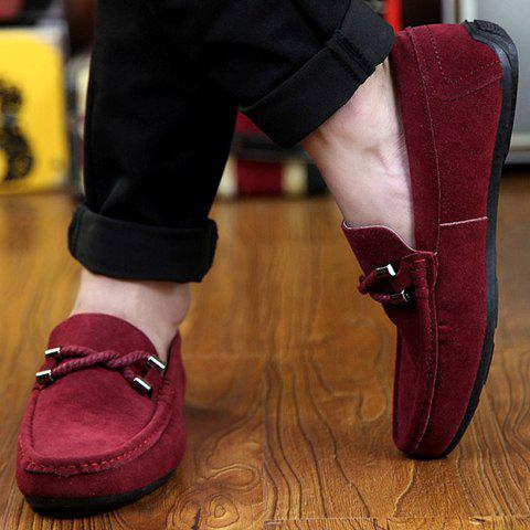 Sale Stylish Criss-Cross and Suede Design Men's Casual Shoes - 44 WINE RED Mobile