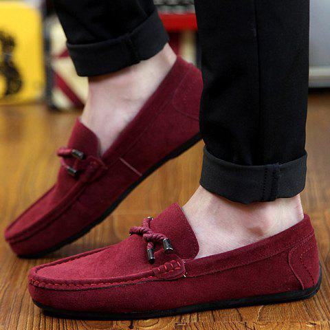 New Stylish Criss-Cross and Suede Design Men's Casual Shoes - 44 WINE RED Mobile