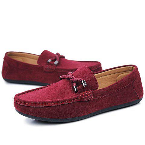Shop Stylish Criss-Cross and Suede Design Men's Casual Shoes - 44 WINE RED Mobile
